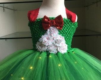 Christmas Tree Tutu Dress- Christmas Tree Light up Tutu Dress- Christmas Tutu Dress- Light Up Tutu