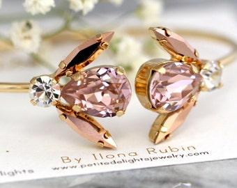Rose Gold Bracelet, Bridal Blush Crystal Bracelet, Swarovski Bracelet, Gift for her, Rose Gold Bangle Bracelet,Blush Crystal Bridal Bracelet