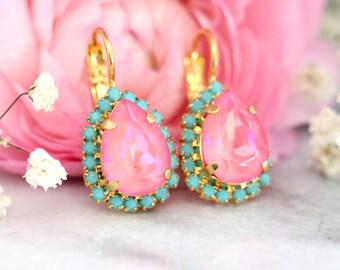 Pink Turquoise Earrings,Pink Earrings,Pink Drop Swarovski Earrings,Bridesmaids Earrings,Pink Bridal Earrings,Gift for Woman,Pink Droplets