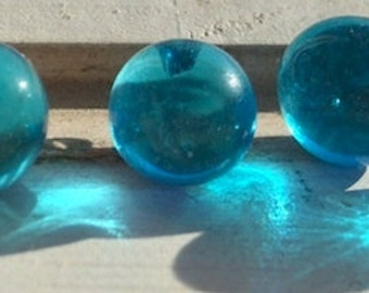 BWB 10 Brilliant Aqua Blue Baubles for You Hand Formed Vintage Glass Beads with Embedded Wire 10mm