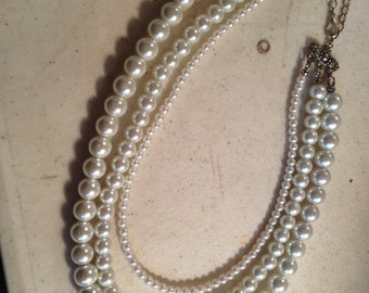 White Pearl Necklace - Multi Strand Jewelry - Silver Jewellery - Wedding - Bride - Beaded