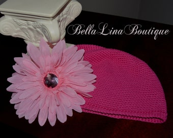 Baby Girl Fuchsia Cotton Crochet Cap with Large Pink Gerbera Daisy Flower Clip - Age 10- Adult- Ready to Ship!