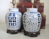 Mid century Asian ginger jar lamps/chinoiserie/ Double Happiness  base/blue and white/ set of two