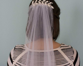 White&Pearl Double Wedding Veil vail vale Elbow Length, tree, branch, hair comb, elbow, medium, white tulle