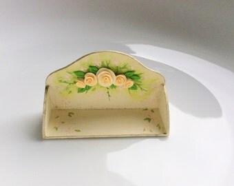 Dollhouse shelf in cream with a pretty peach rose design to fit 1:12 scale miniature dollhouse