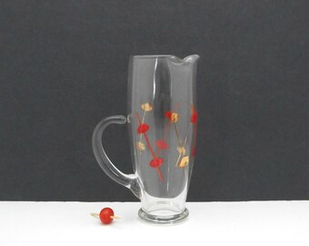 Vintage Glass Cocktail Martini Pitcher Handpainted Olives Red Gold Barware