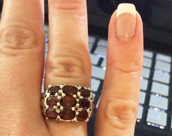 DISCOUNTED MUST Have Sterling Silver GARNET Ring ---Channel Setting --Size 7