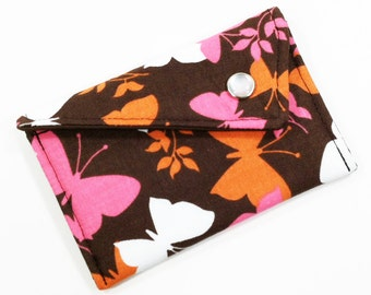 Business Card Holder - Brown Pink and Orange Butterfly (LIMITED EDITION) Card Case Wallet