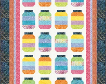Candy Jars Quilt Pattern, 4878-1, Stripped pieced Lap Quilt, Lap quilt pattern, Pastel quilt, jelly roll friendly quilt pattern