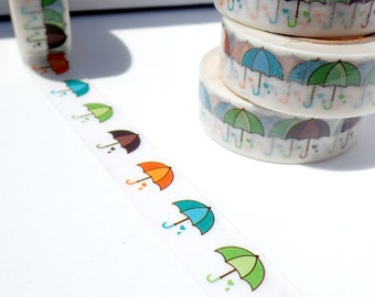 Colorful Umbrellas Washi Tape - Paper Tape Great for Scrapbooking Paper Crafts and Decorations - Rainy Day Decor 15mm x 10m