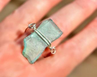 Silver Roman Glass Ring Thin Modern Ring Big Aquamarine Swivel Roman Glass Ring Roman Glass Jewelry Israel Ring Israel Jewelry Free Shipping
