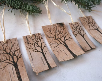 Rustic Birch Bark Gift Tags - Winter Trees - Set of 5 Gift Ornaments/Tags