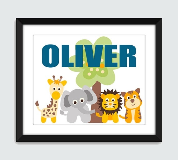 Jungle Animal Wall Art with Custom Name. Giraffe, Elephant, Lion, Tiger Wall Print. 8x10 Poster for Children Baby Nursery by mateoandtobias