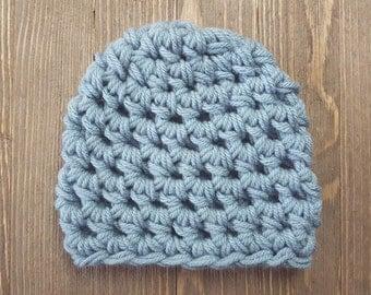 Newborn Boy Hat, Chunky Crochet Boys Newborn Hat, Blue Beanie Baby Hat, Photography Prop, Dusty Blue Boys Hat