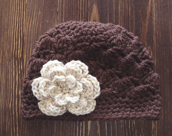 Girls Hat, Brown and Oatmeal Girl Hat, Newborn Girl Hat, Crochet Baby Hat, Crochet Girls Hat, Baby Girl Hat, Baby Hat for Girls