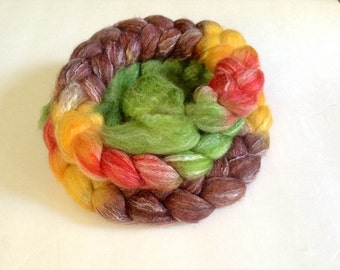 SW Merino Tencel braid Hand Painted in Anderson Marsh by Royale Hare spinning yarn knitting crochet