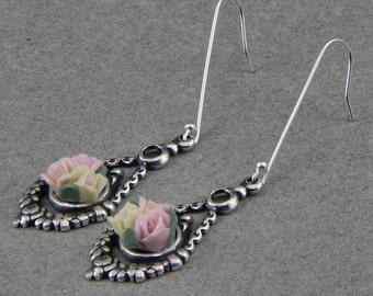 Handmade Silver Filigree and Ceramic Rose Drop Earrings