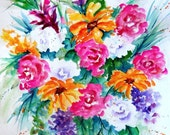 Watercolor of Colorful Bouquet Spring Flowers by Martha Kisling