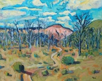 Bike Trail - Painting, Original Oil, Desert Landscape, Home Decor, Utah, Desert, Trees, Sage Brush, Clouds, Blue Sky, Cliffs, Bike Trail