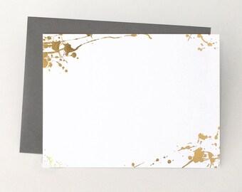 Splatter Paint Stationery Set with gold foil
