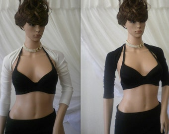 Elegant ladies bolero - sleeves in black and white