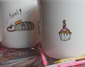 Woodlouse party mug Cyril and his party tooter pillbug mug