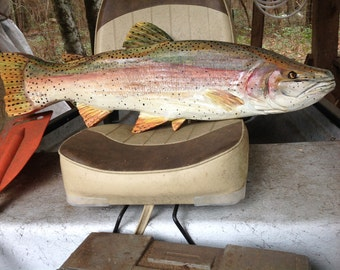 "Rainbow Trout 32"" wooden fish taxidermy wall mount Todd Lynd original chainsaw carving fly fishing home decor hand made collectible art"