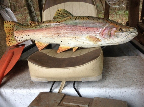 Rainbow trout 32 wooden fish taxidermy wall mount by for Fly fishing decor