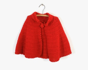 Vintage Holiday PONCHO / 1980s Little Girl's Red Knit Cape with Jingle Bell Pom Poms