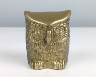 Vintage Brass Owl  / Vintage Home Decor / Teacher Gift / Antique Brass / Small Owl Gift
