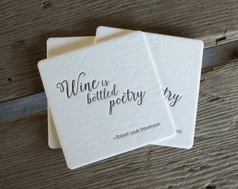 Wine is bottled poetry Coasters, set of 4, perfect gift for wine lover