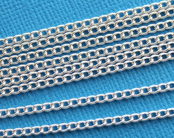 "13Ft Necklace Chain Silver Plated 2mm x 3mm (1/16"" x 1/8"") - FD159"