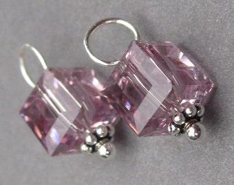 Swarovski Birthstone Charm, Swarovski Crystal Charm, Bead Dangles, Swarovaki  Light Amethyst Cube, Interchangeable Earring Charms