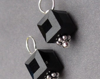 Swarovski Charms, Interchangeable Charms, Swarovski Crystal Cube, Jet Black, Bead Dangles, Interchangeable Earrings