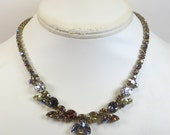 Vintage Crystal Rhinestone Necklace Choker 1980s Gold Brown Amber Goldtone Crystal Rhinestone Necklace Sparkling Rhinestone Necklace