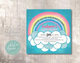 Rainbow Birthday Invitation -  by Beth Kruse Custom Creations