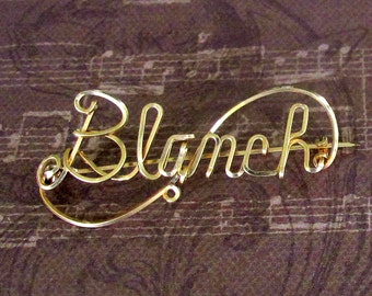 Vintage Wire Name Pin - Blanch