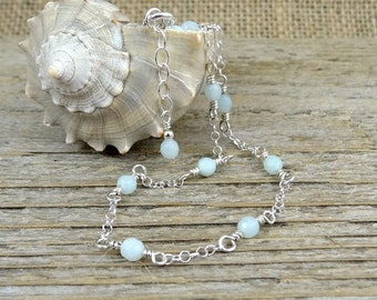 Pale Blue Anklet, Amazonite Gemstone Ankle Bracelet, Dainty Sterling Silver Ankle Chain, Summer Jewelry