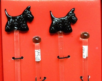 11 Black Scottie Scottish Terrier Glass Swizzle Sticks Vintage Dept 56