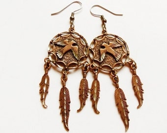 Thunderbird Dream Catcher Feather Earrings Diamond Cut Copper Coated Pewter Vintage SW 1995