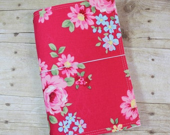 Fabric Fauxdori - Traveler's Notebook Cover - Extra Wide - Fuschia Pink Floral