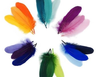 Bright Satinette Feather Palettes - purple, pink, orange, green, aqua,blue, lavender, yellow ombre