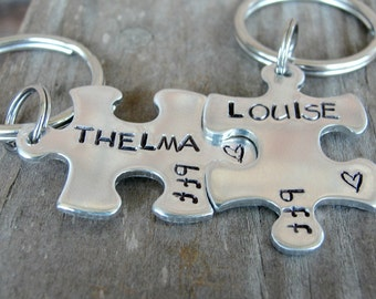 Best Friend Gift - BFF Gifts - Puzzle Keychains - Thelma and Louise Keychains - Thelma And Louise- Sister Gift