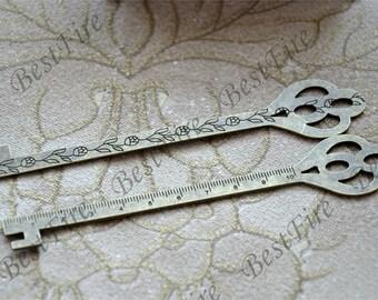 2 pcs of  Antique bronze tone key  ruler metal Bookmark , Antique bronze Tone metal Bookmark