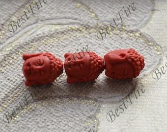 8 pcs of Vintage Carved Cinnabar Buddha Head,red Spacer beads,red lotus Spacer beads,, Cinnabar beads