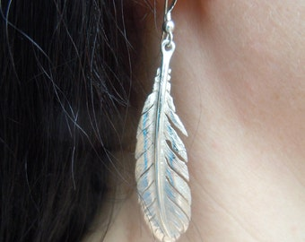 Handmade Feather Earrings in Sterling Silver, Gold or Platinum