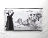 Midnight Meeting with White Background Fabric Zipper Pouch / Pencil Case / Make Up Bag / Gadget Pouch