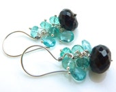 Apatite and Shimmering Spinelle Cluster Earrings. Gemstone Jewelry. Christmas Gift. Cocktail Earrings. Petite Earrings. Beadwork Jewelry.