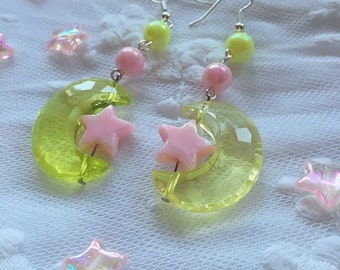 Yellow Magical Girl Moon Earrings