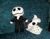 "crochet halloween style dolls jack & zero skeleton skellington pumpkin king nightmare xmas   6"" geek spooky Christmas gift"